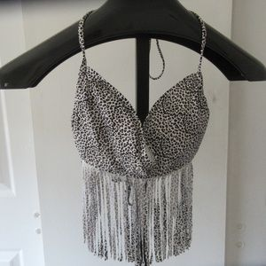 Xhilaration Med Leopard fringe bikini top EUC!